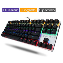 Russian Spanish Electronic Mechanical Keyboard Gaming Computer PC 104/87 Keys Wired Keyboard LED Backlight Red Black Switch
