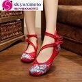 Мода Женская Обувь Старого Пекина Мэри Джейн Квартиры С Повседневная Обувь Китайском Стиле Вышитые Ткани обувь женщина Плюс Размер 34-41