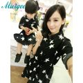 Family clothing Mother and daughter Dresses dress Women Girl Star black dress Parent childs Party dress mother son outfits