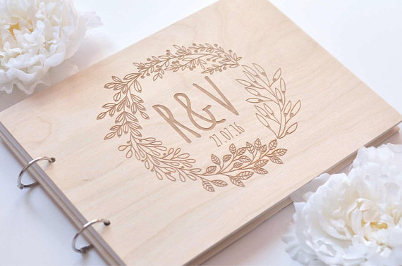 Personalized GuestBook Wreath, Garden Wedding Engraved Wooden Guest Book, Floral Wedding Decor