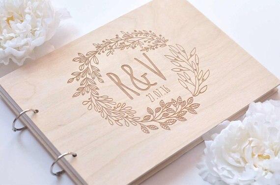 Personnalisé Livre D'or guirlande, jardin de mariage Gravé En Bois Livre d'or, floral de mariage décor