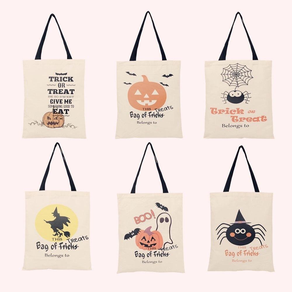 販売6種類ハロウィンキャンバスバッグクモカボチャトートバッグ巾着袋キャンディーギフトバッグ御馳走やトリックパーティーの装飾トートバッグ