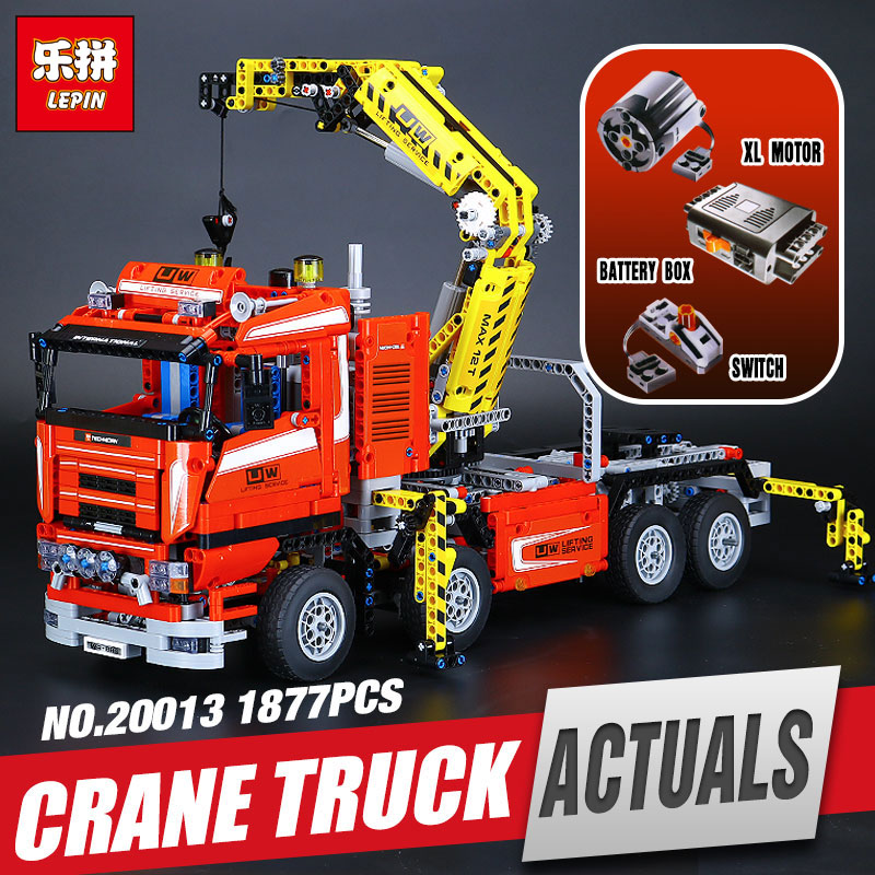 DHL free shipping LEPIN 20013 technic series The Electric Crane Truck Model Building blocks Bricks Compatible legoing 8258 free shipping lepin 21002 technic series mini cooper model building kits blocks bricks toys compatible with10242