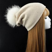 Настоящее Мех Енота Пом Пом Вязаная Шапка Женщины Шерсть Вязание Skullies Шапочки Зимняя Шапка LadiesFemale Натуральный Мех Помпон Шапочки Hat