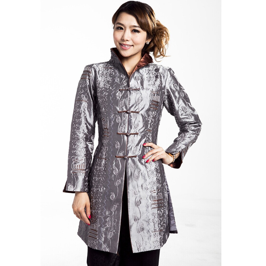 79dac447ff1 Высокое качество серый леди полиэстер кнопка пальто для женщин среднего  возраста Стильная удлиненная куртка Демисезонный Новый
