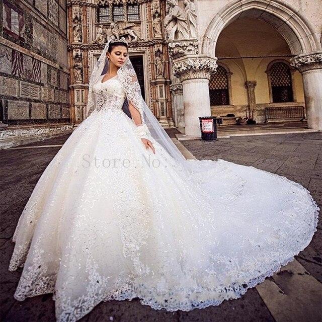 nueva llegada del vestido de bola magnífico vestidos de novia con