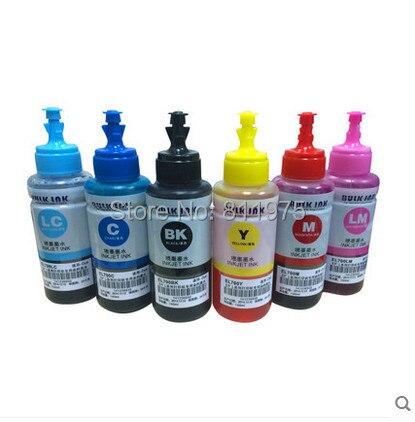 Kit De Recarga De Tinta de cor tinta Baseada da tintura Não OEM 6 70 ml para Epson L800 L801 Cartucho de tinta de impressão Não. t6731/2/3/4/5/6