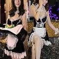 Cosplay Uniforme de empregada doméstica do Vestido Extravagante roupa interior das mulheres lingerie sexy Traje de Halloween Avental Francês Maid Servo Lolita Costume Dress