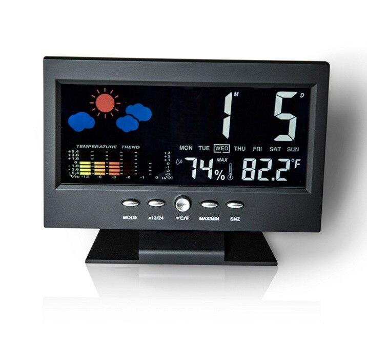 Digital Weather Forecast Station Large-screen Calendar LED Clock With Backlight LCD Desktop Clock Thermometer Hygrometer Timer