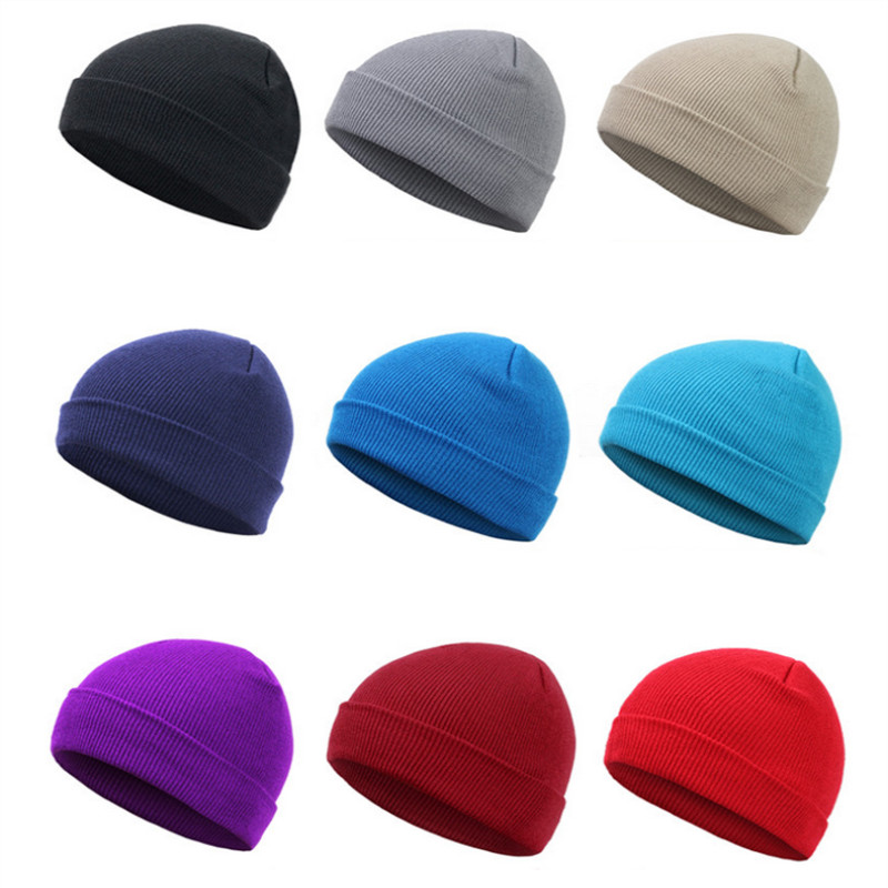 Hat Hip-Hop Hedging Cap Red Blue Black Orange Purple Stretch Knit Beanies Autumn Winter Hats For Man Woman Ski Вязаная шапка