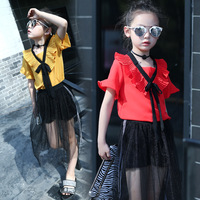 Summer Teenage Girls Clothing Sets 2PCS Butterfly Sleeve Shirt Mesh Lace Long Skirt Outfit Children Clothing