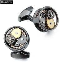 HAWSON Gun Plated Formal Watch Movement Cufflinks Wedding Groomsmen Gift Mechanical Black Cuff Links