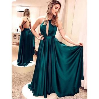 Sexy Backless Evening Dresses Long 2020 robe de soiree Cheap Special Occasion Dress A Line Satin Formal Women Party Gowns