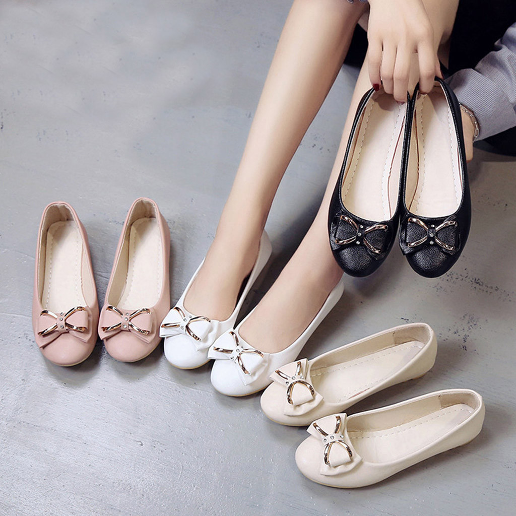 Women's Fashion Casual Round Toe Butterfly-Knot Shallow Slip On Flat Work Shoes   Shoes Woman Zapatos De Mujer Sapato Feminino