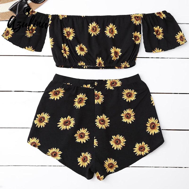 AZULINA Casual 2 Two Piece Set Women Sunflower Print Summer Off the Shoulder Crop Top Shorts Zipper 2018 Beachwear Women Set