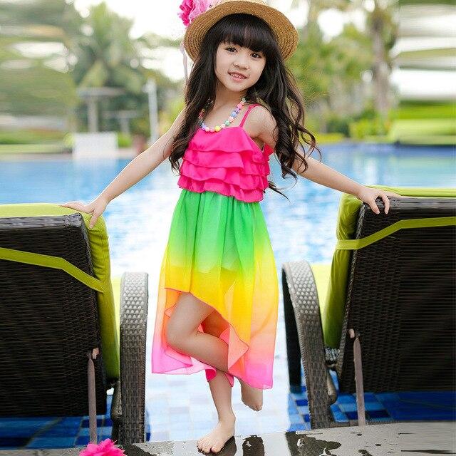 Платье с рисунком в виде радуги для девочек лето 2015 пляжное платье для девочек 3-14 лет одежда для детских праздников и вечеринок одежда для девочек