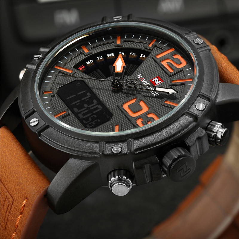 NAVIFORCE Men Watches Sport Mens Watches Top Brand Luxury Military Army Leather Analog LED Digital Quartz Watch Male Clock 2018 mens watches luxury fashion sport watch naviforce brand men quartz analog digital clock male waterproof stainless steel watches