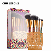 CHILEELOVE 5 Pieces Flower Printing Makeup Brushes Kit For Loose Powder Blush Eyeliner Eye Smudge with Retail Box