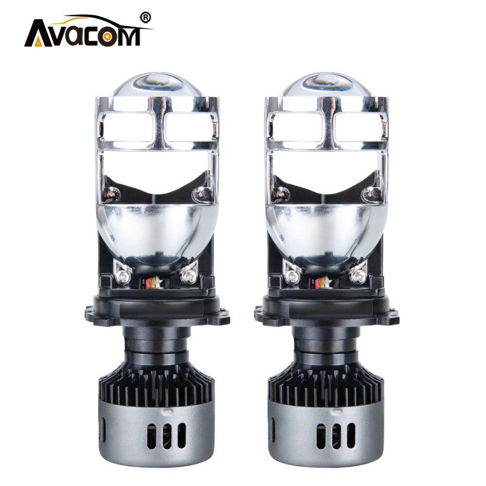 AVACOM h4 LED phare de voiture avec Mini Kit de Conversion de lentille de projecteur 9600LM Automobiles salut/Lo faisceau ampoule LED 12 V 24 V 6500 K