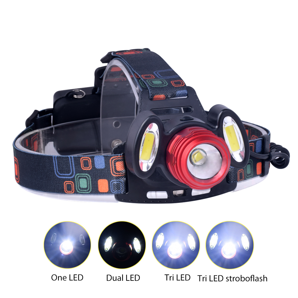 TSLEEN Cree T6+COB LED Head Torch 18650 Cells Headlight AC/Car Charger Fish/Explore 1000LM LED Outdoor Front Light Hunt Camp