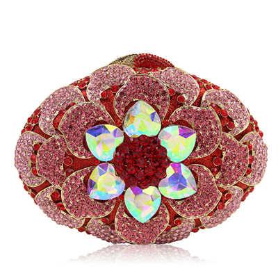 Женские Цветочные партия ярко-розовый цвет вечерние Клатчи Свадебные красный кошелек мешок золота Посланник для вечеринок для девушек Сумки