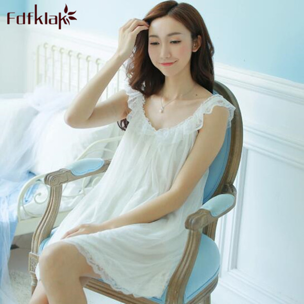 Free Shipping Princess Style Womens Nightgown Short Sleepwear Mini Vintage Pijamas Summer Nightdress Lace Sexy Nightwear