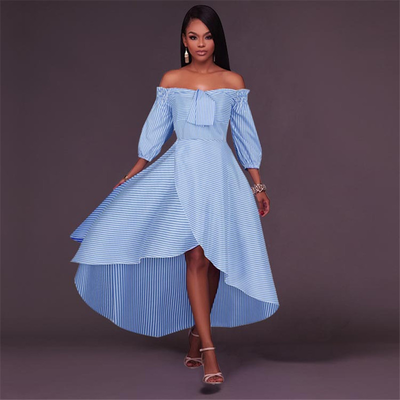 Dress 2018 new sexy shoulders a word before the lantern sleeve short after long stripe dress