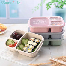 Wheat Straw Three-Compartment Lunch Box Food Transparent Cover Office Travel Portable Tableware Lunchbox Bento Eco-Friendly