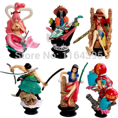 ФОТО 6 pieces / set  Size: 8 - 9 CM CM PVC plastic model one piece  action figures hobbies plush doll  --- np 161616 1616np