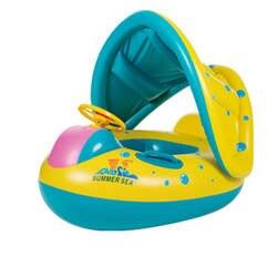 Детские Дети плавание кольцо Чайлдс круг надувной бассейн кольца поворотной ручкой солнцезащиты дизайн