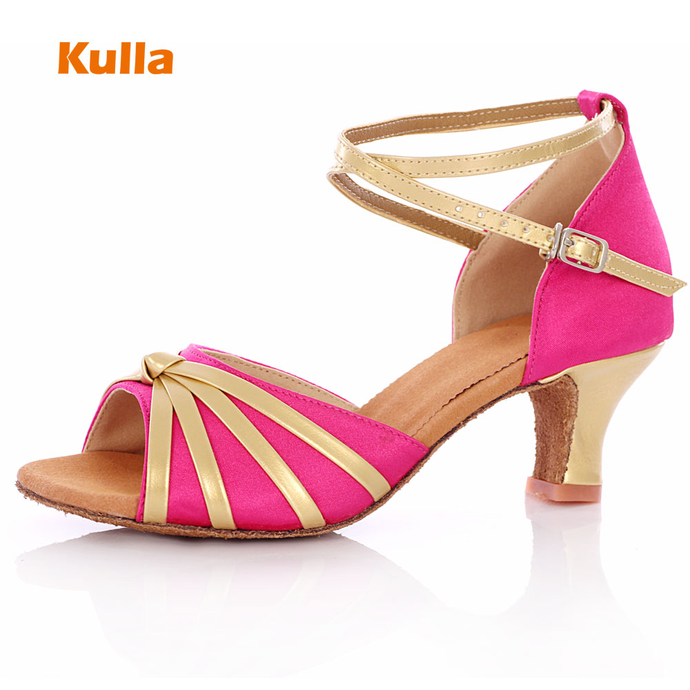 KULLA magenta soft sole heel ballroom tango latin dance shoes for women dancing salsa shoes high-heeled adult soft outsole L32