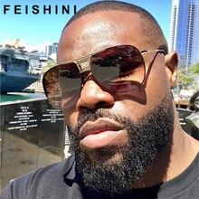 FEISHINI Celebrity Sunglasses Men Brand Design Retro Metal Big Frame Gradient Colorful Lens Fashion Cool Male Sun glasses Shield