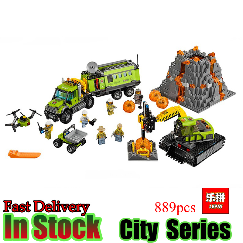 LEPIN 02005 City series 889Pcs Volcanic expedition base  Model Building blocks Bricks Compatible 60124 Toy for Gift compatible city lepin 02005 889pcs the volcano exploration base 02005 building blocks policeman educational toys for children