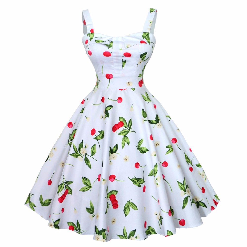 aeProduct.getSubject(). Retro Vintage 50s 60s Hepburn Dress Cherry Big Swing  Floral Dresses Spaghetti Strap Party Dress Women Sleeveless Vestidos Casual 13cd6e8dc437