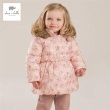 DB4241 дэйв белла зима новорожденных девочек цветы отпечатано серый пальто с капюшоном пальто на вате