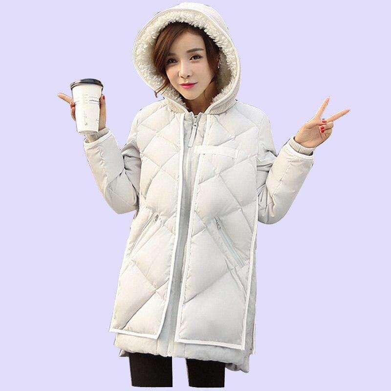 ФОТО 2017 New Korea Winter Plus Size Women Coat Overcoat Wadded Coats Solid Hood Jackets Thick Warm Top Quality Loose Coat A0162