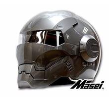 MASEI610 IRONMAN capacete da motocicleta Capacete motocross metade do Ciclo de Tendência Personalidade capacete aberto rosto capacete capacete de Corrida Brilhante Cinza