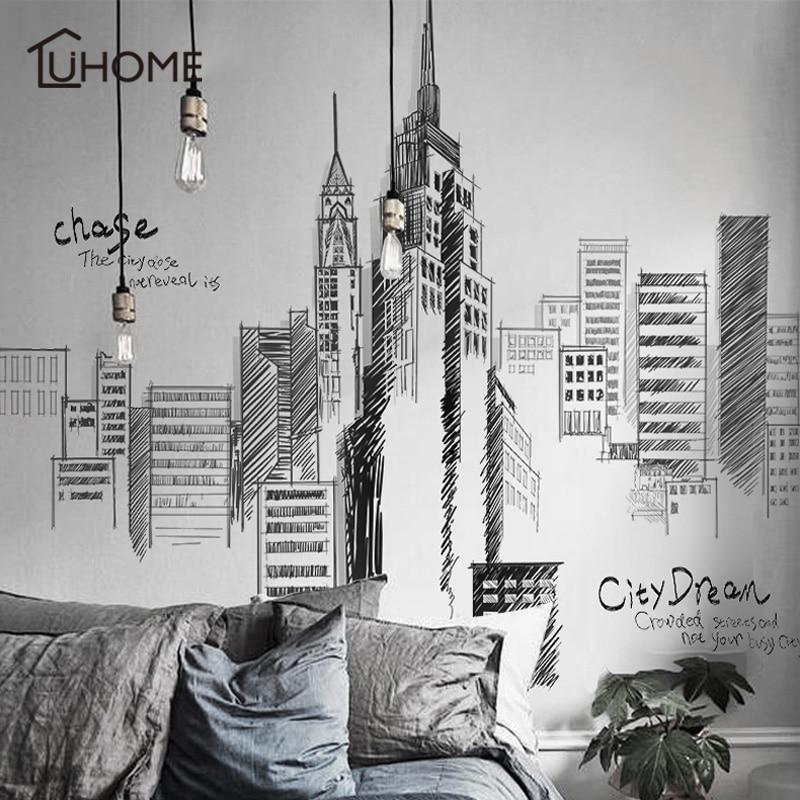Preto retro grande cidade de altura edifícios conjunto adesivos parede pvc diy mural arte para sala estar sofá decoração fundo decalque 3 tamanho