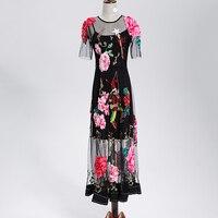 Luxury Dress New 2017 Summer Designer New Embroidery Appliques Black Mesh Slim Women Mid Calf Vintage Dress Fashion
