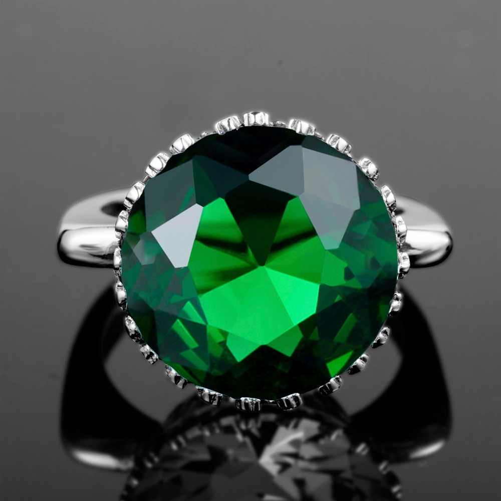 Szjinao ใหม่ Nngland Crown ใหญ่แหวนรอบมรกตหมั้น 925 เงินสเตอร์ลิงเครื่องประดับแบรนด์หรู Masonic