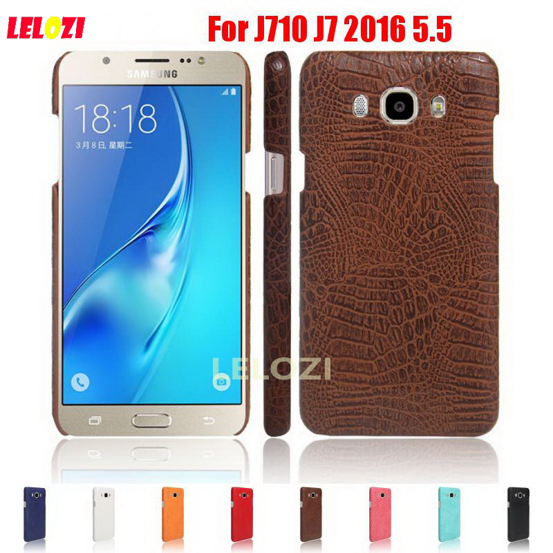 LELOZI Crocodile Snake Pattern Hard PC women PU Leather Phone Mobile Etui Coque Case For Samsung Galaxy J710 J7 2016 5.5 Blue ...
