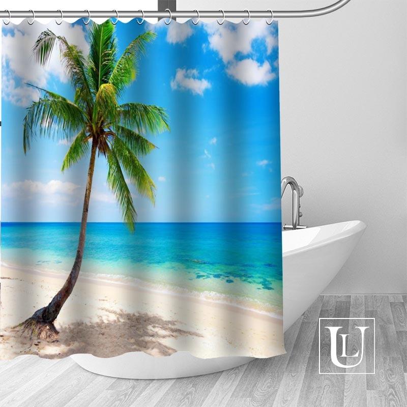 High Quality Custom Sea Summer Ocean Beach Tropical Palm Tree Shower Curtain Hooks Mildew Resistant Bath Bathroom Decor In Curtains From Home