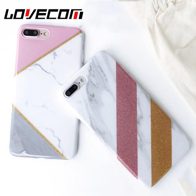 Lovecom costura geométrica mármol piedra phone cases capa coque para iphone 6 6s