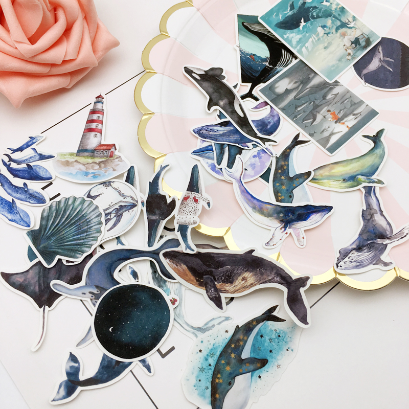 Купить с кэшбэком 28pcs water color Deep sea blue whale sticker Planner Scrapbooking DIY Dry Glue Dolphin Sticker