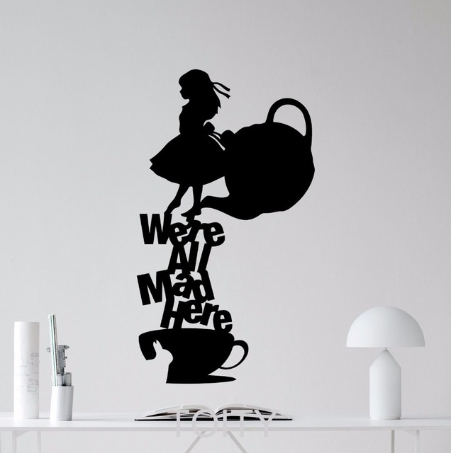 Alice in wonderland wall sticker were all mad here quote vinyl decal silhouette art