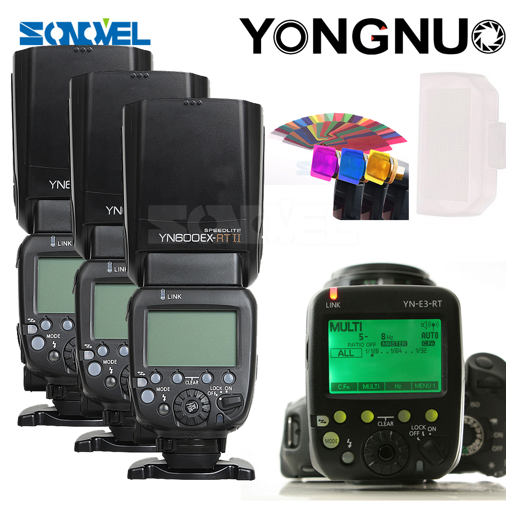 YONGNUO 3x YN-600EX-RT II 2.4G Wireless HSS 1/8000s Master Flash Speedlite + YN-E3-RT Flash Trigger for Canon EOS Camera 5D 6D yongnuo yn600ex rt ii 2 4g wireless hss 1 8000s master ttl flash speedlite or yn e3 rt controller for canon 5d3 5d2 7d 6d 70d