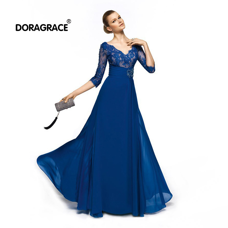 Doragrace Simple Elegant Royal Blue Chiffon Summer Evening Gowns Long Dresses with Short Sleeve