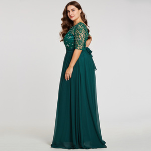 Image 2 - Tanpell Plus Size Evening Dresses Hunter Scoop A Line Floor Length Dress Chiffon Half Sleeves Beaded Lace Long Evening Gown