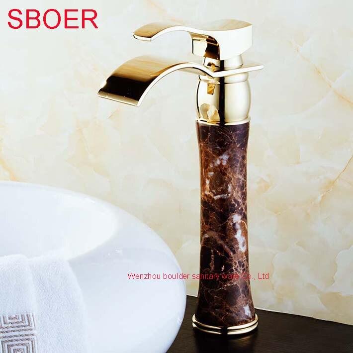 цена на Hot Waterfall Black Jade Marble Stone Gold Solid Brass Copper Bathroom Basin Lavatory Vanity Sink Vessel Mixer Tap Faucet