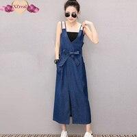 Denim Sundress Long Jeans Dress Denim Clothing Women Blue Tank Slit Midi Dress With Belt Bandage